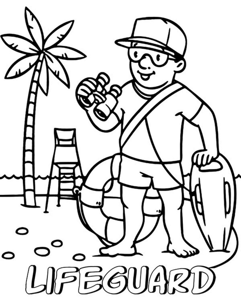 Lifeguard On The Beach Coloring Page