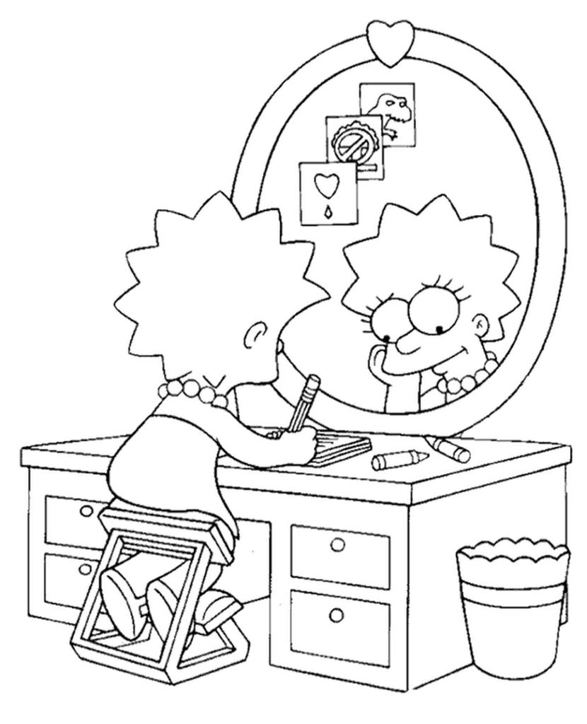 Lisa Simpson Does Her Homework Coloring Page