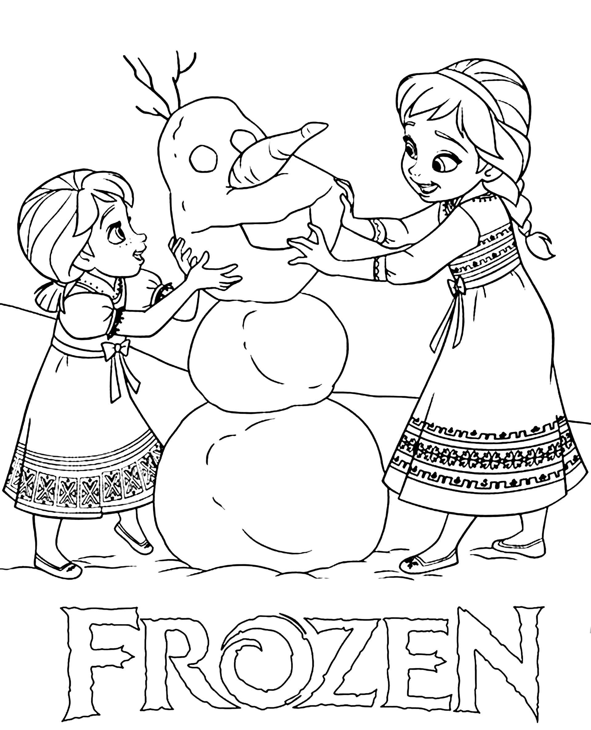 Little Anna And Else Making Olaf Coloring Page