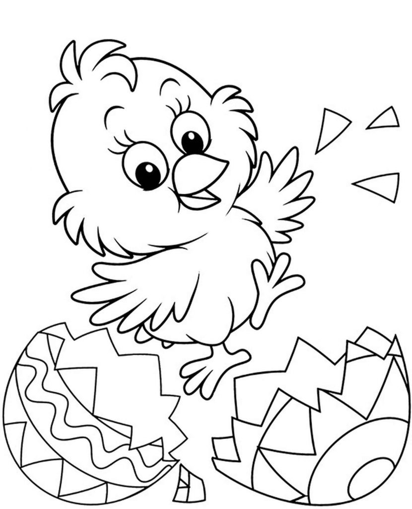Little Chick From Easter Egg Coloring Page