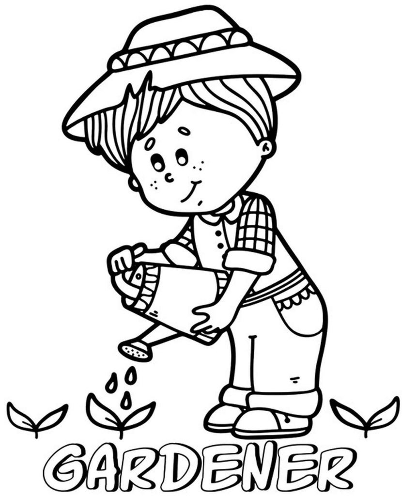Little Gardener Coloring Page