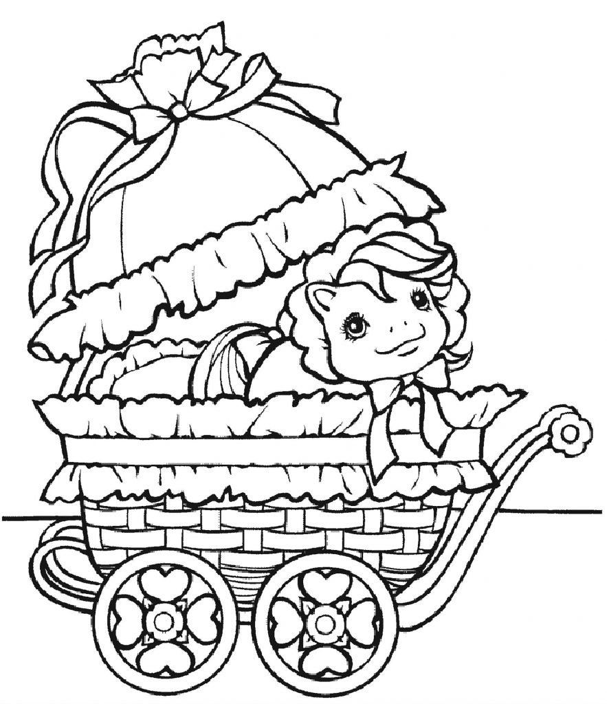 Little Pony In A Cradle Coloring Page