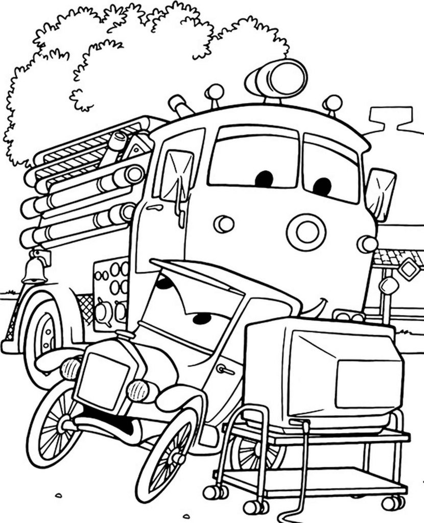 Lizzie And Rusty From Cars Coloring Page