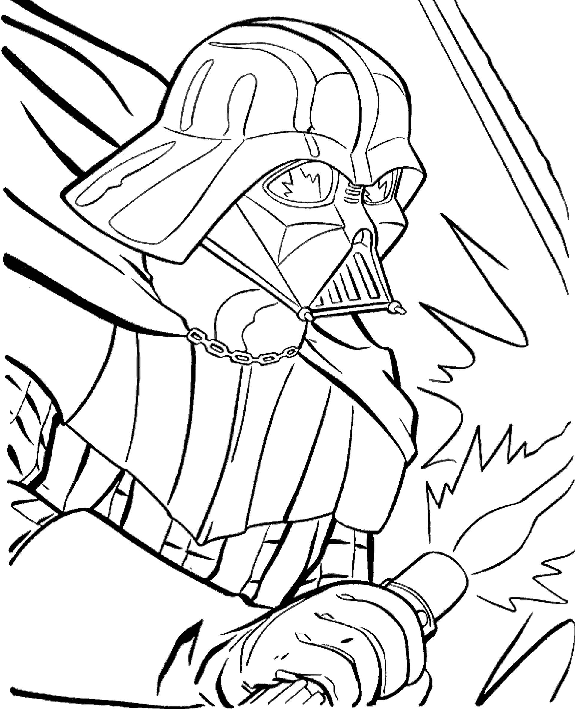 Lord Darth Vader From Star Wars Fights Coloring Page