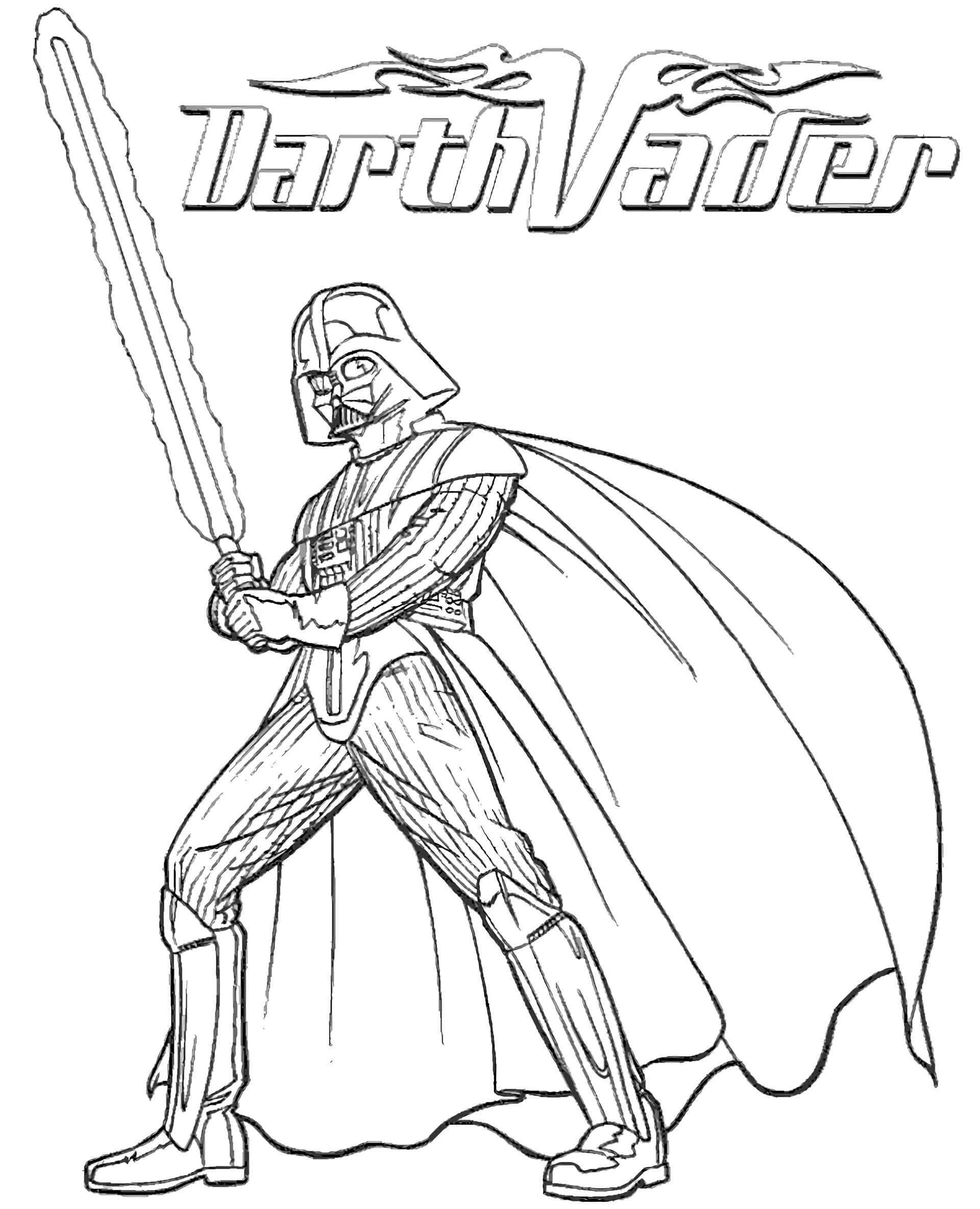 Lord Darth Vader From Star Wars With A Jedi Sword Coloring Page