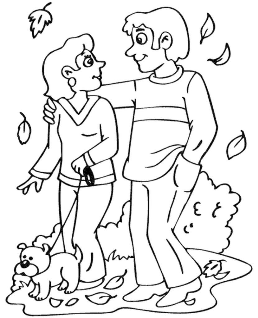 Loving Couple With A Dog Coloring Page