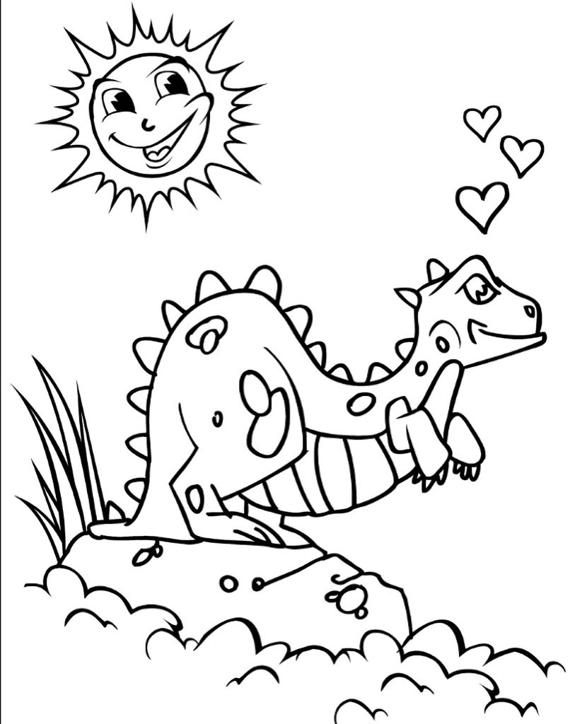 Loving Dinosaur In The Sun Coloring Page