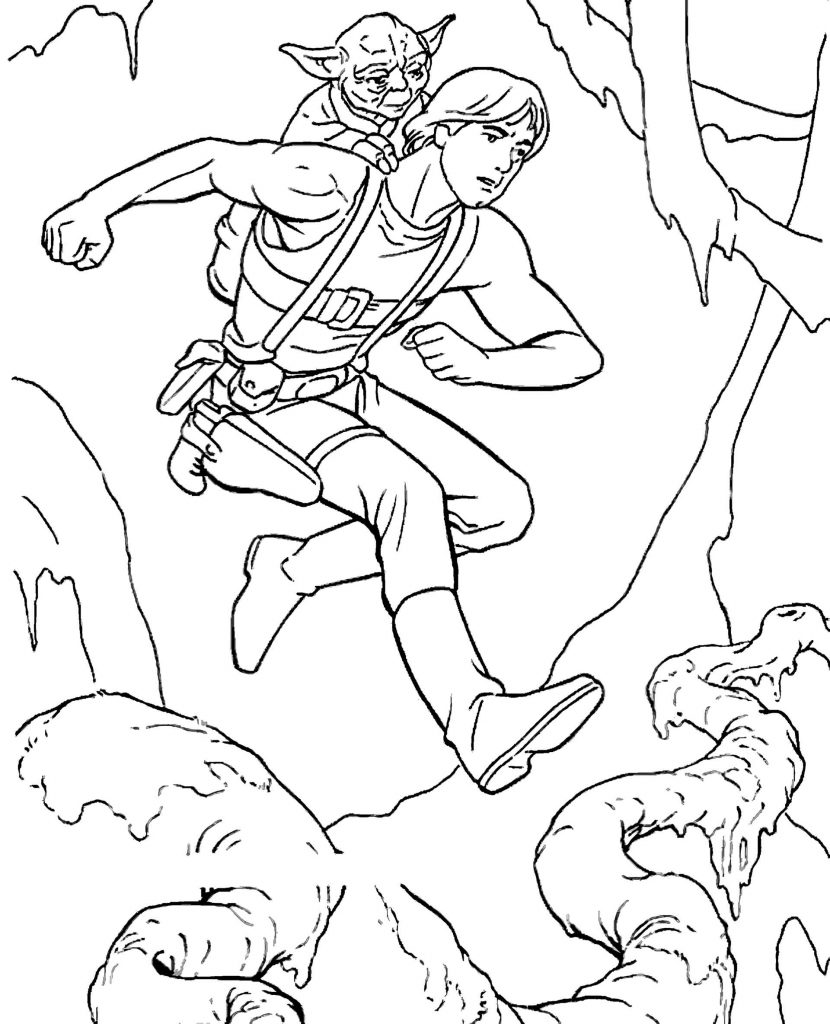 Luke And Yoda From Star Wars Jump Coloring Page