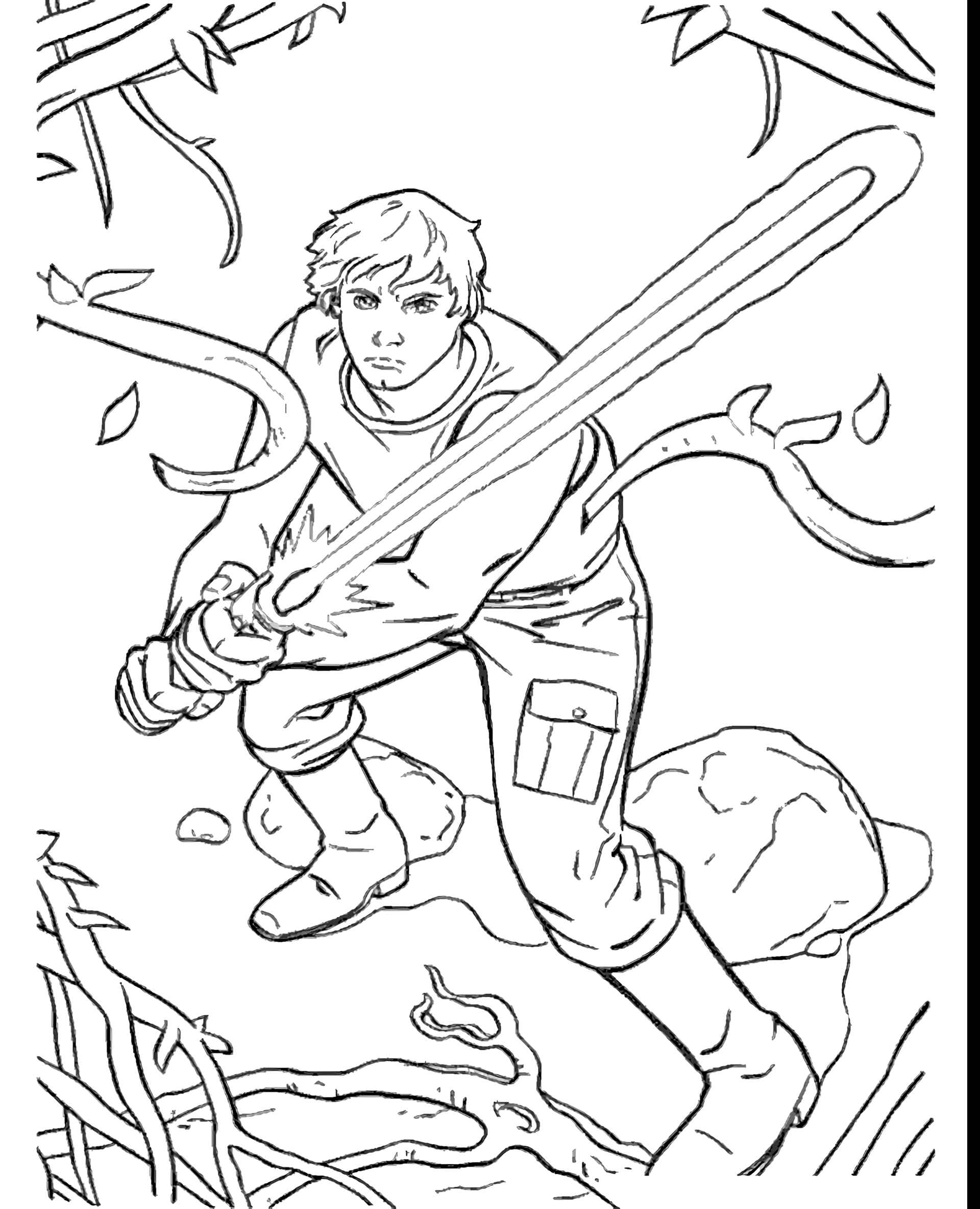 Luke Skywalker From Star Wars With Jedi Weapons Coloring Page