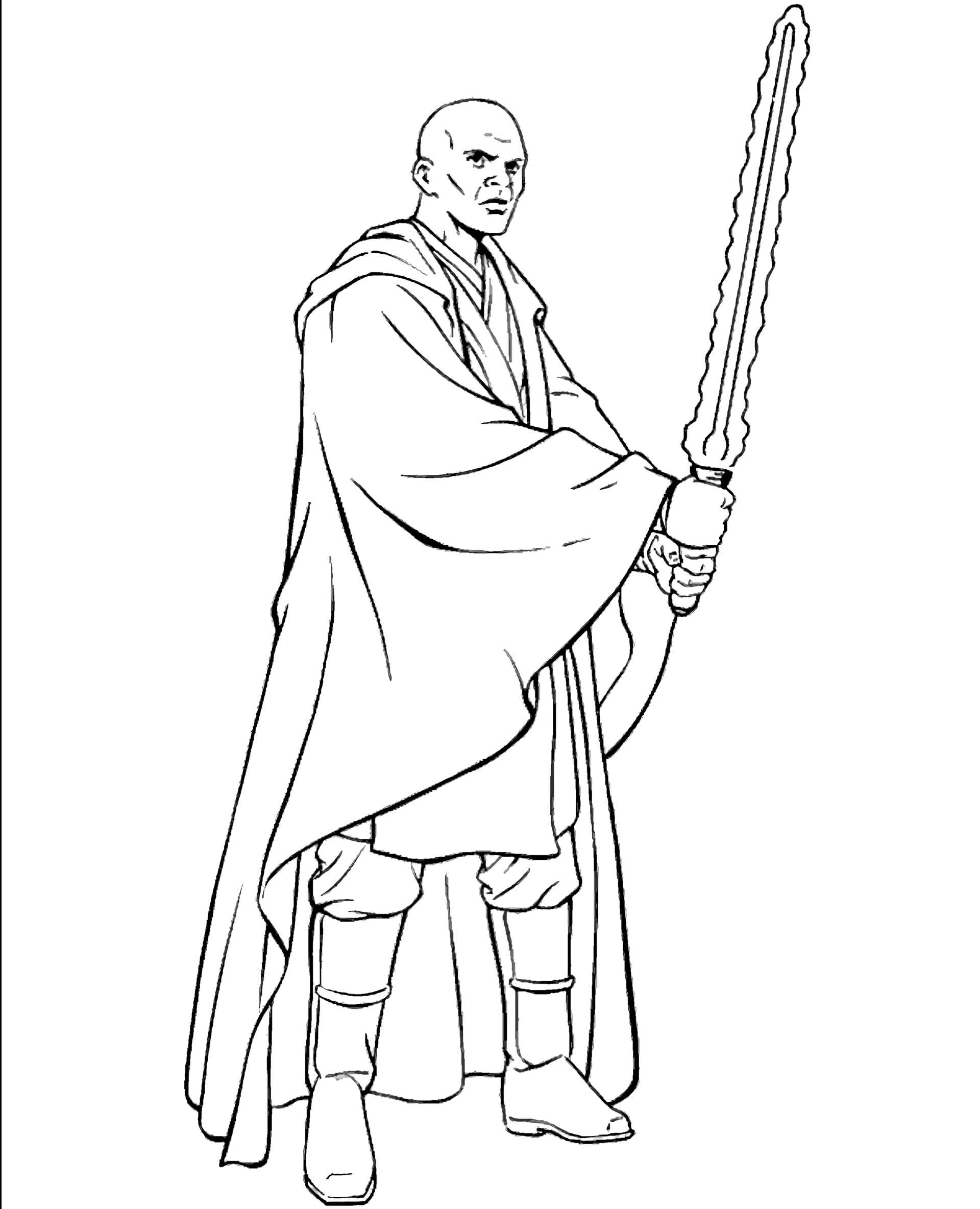 Mace Windu From Star Wars With Laser Weapons Coloring Page
