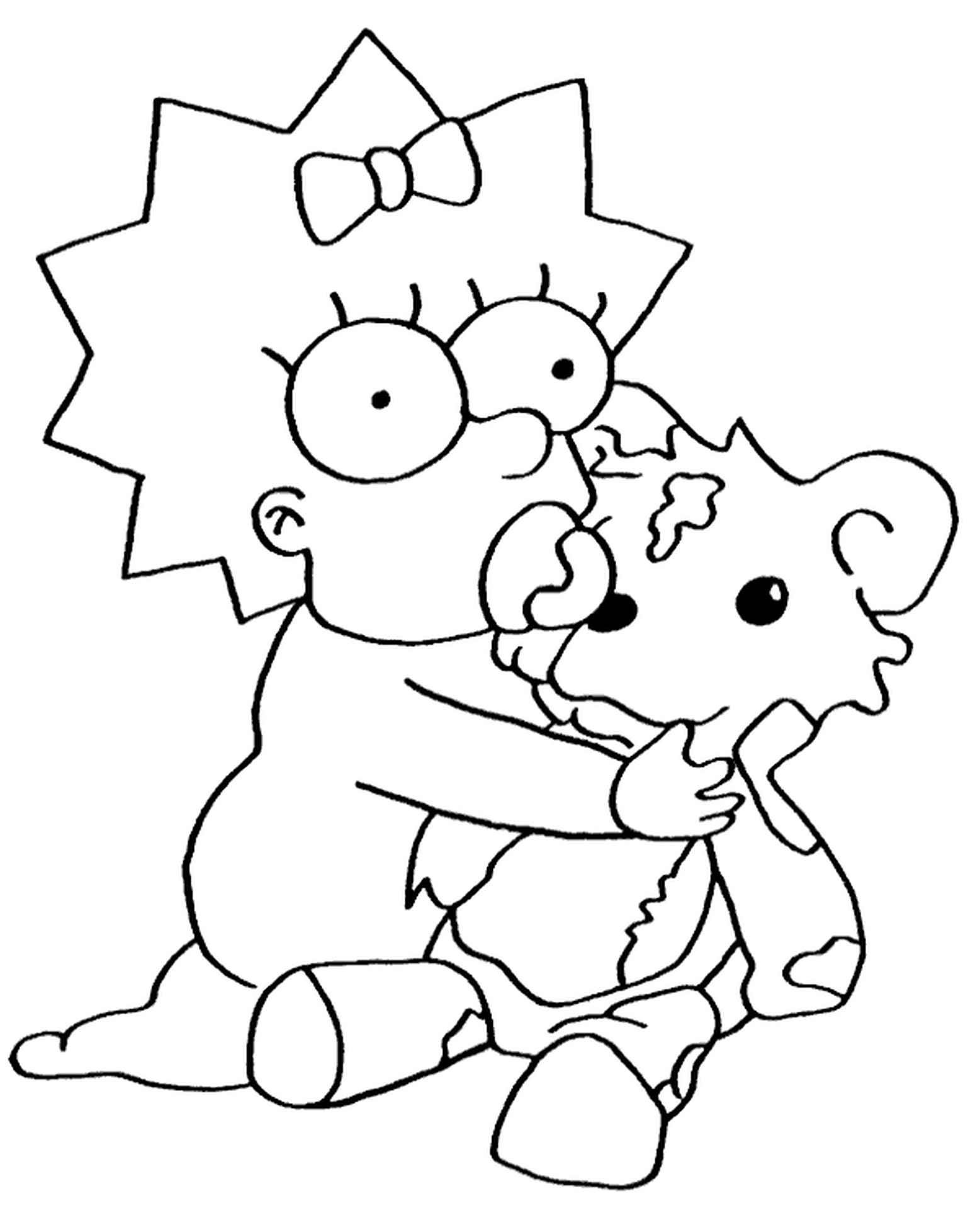 Maggie From Simpsons With Teddy Bear Coloring Page