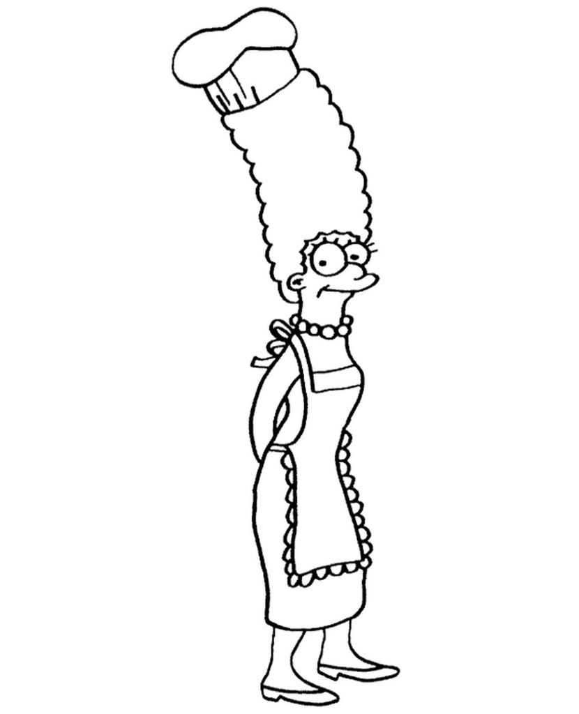 Marge Simpson Is Cooking Coloring Page