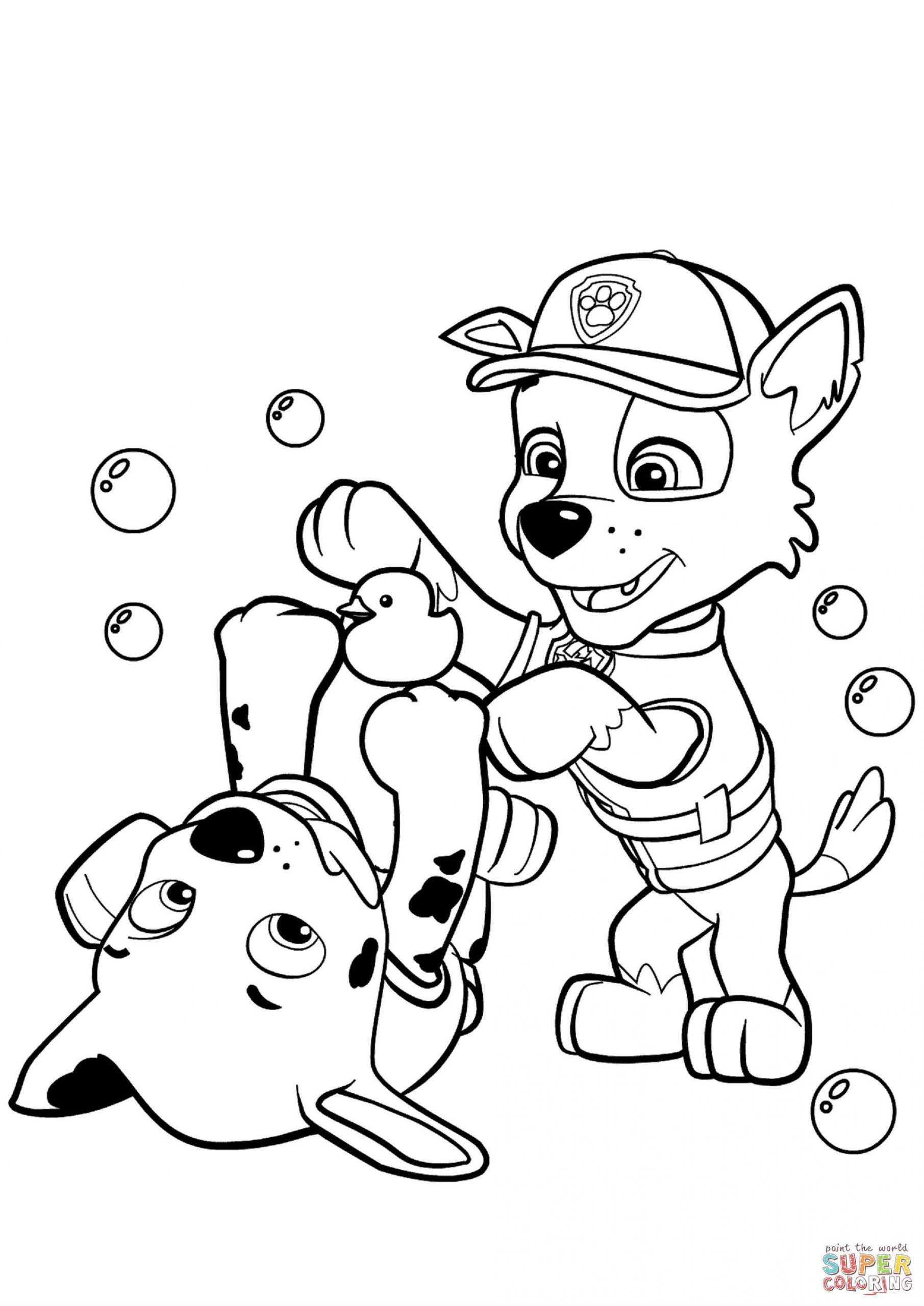 Marshal, Chase Are Playing With Soap Bubbles Coloring Page