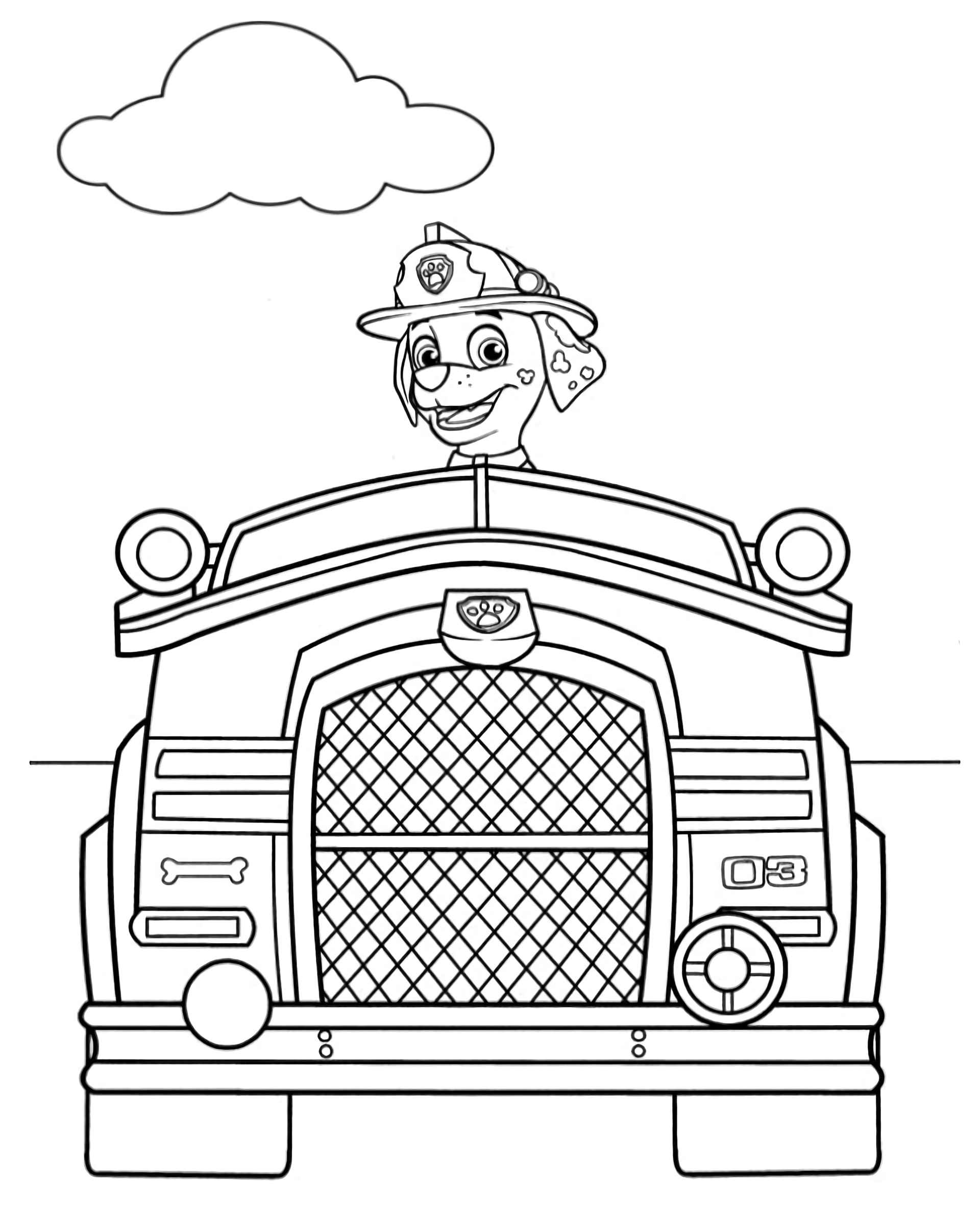 Marshal From Paw Patrol Firetruck Coloring Sheets