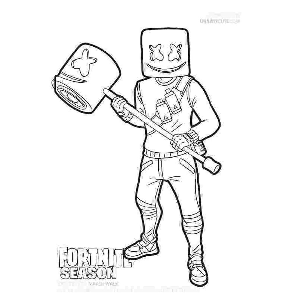 Marshmelllow With Wood Sledgehammer Skin From The Game Fortnite Coloring Sheets