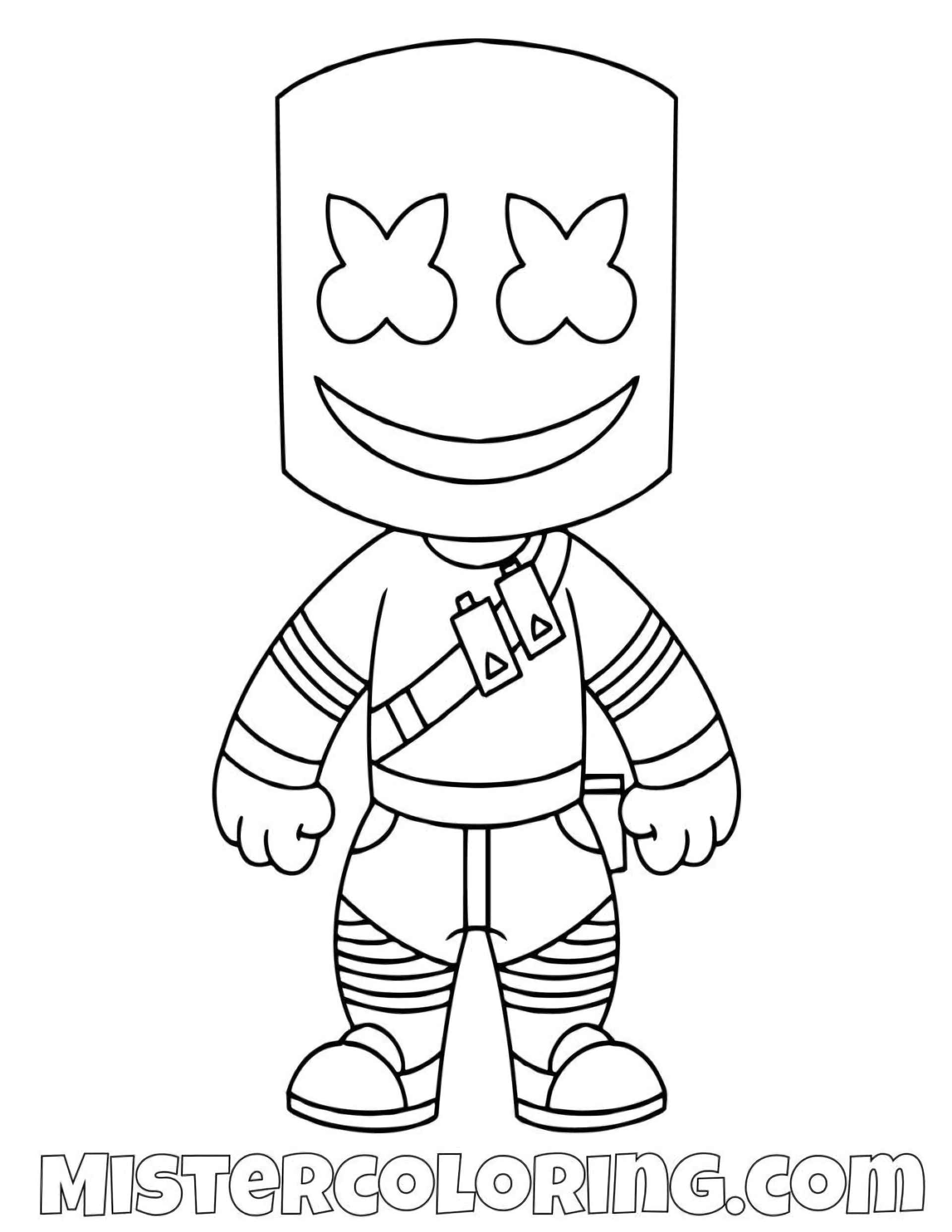Marshmello Chibi Skin From The Game Fortnite Coloring Page