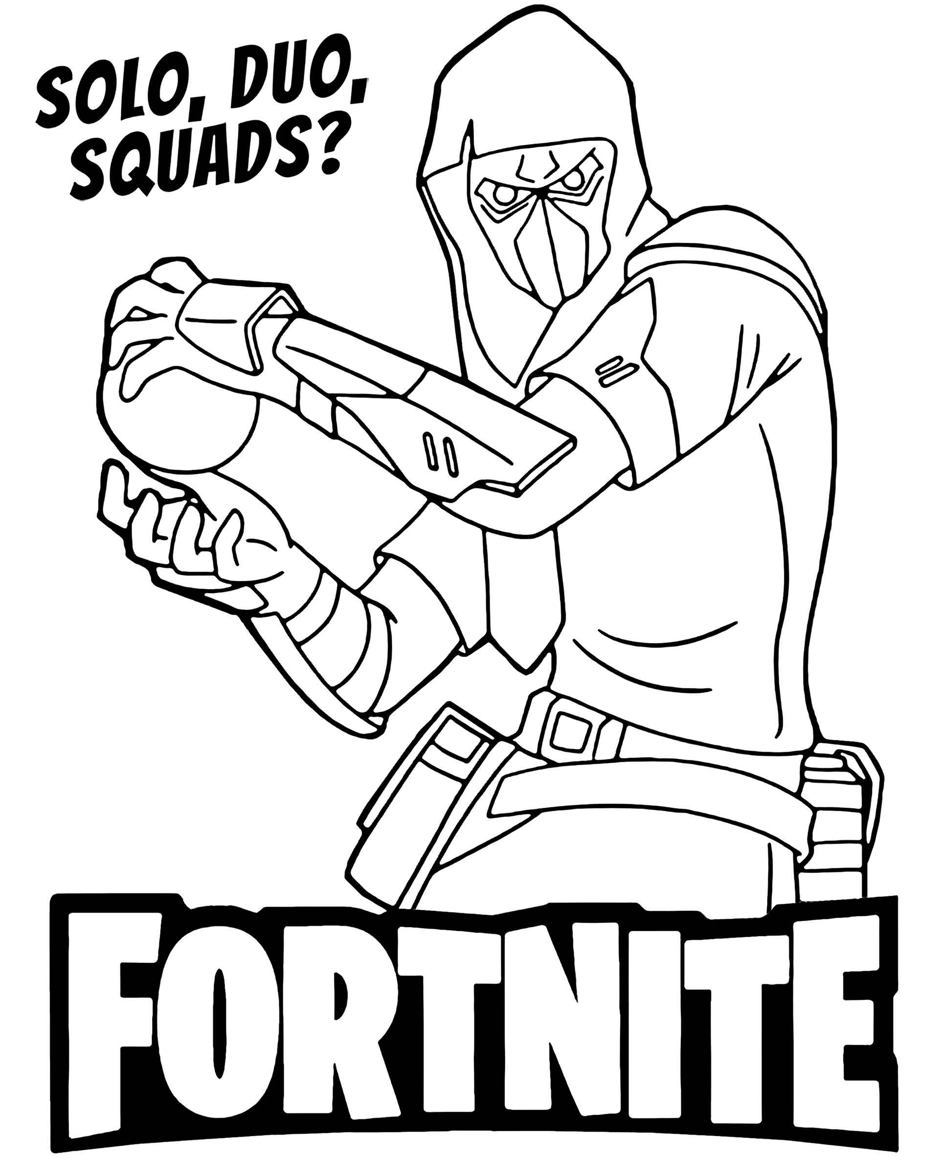 Masked Man With A Cannonball In His Hands From The Game Fortnite Coloring Pages