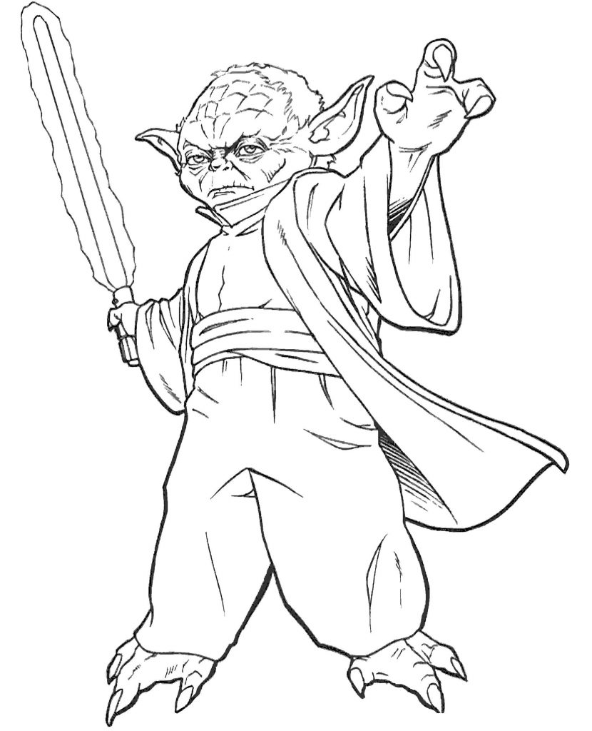 Master Yoda From Star Wars With A Jedi Sword Coloring Page