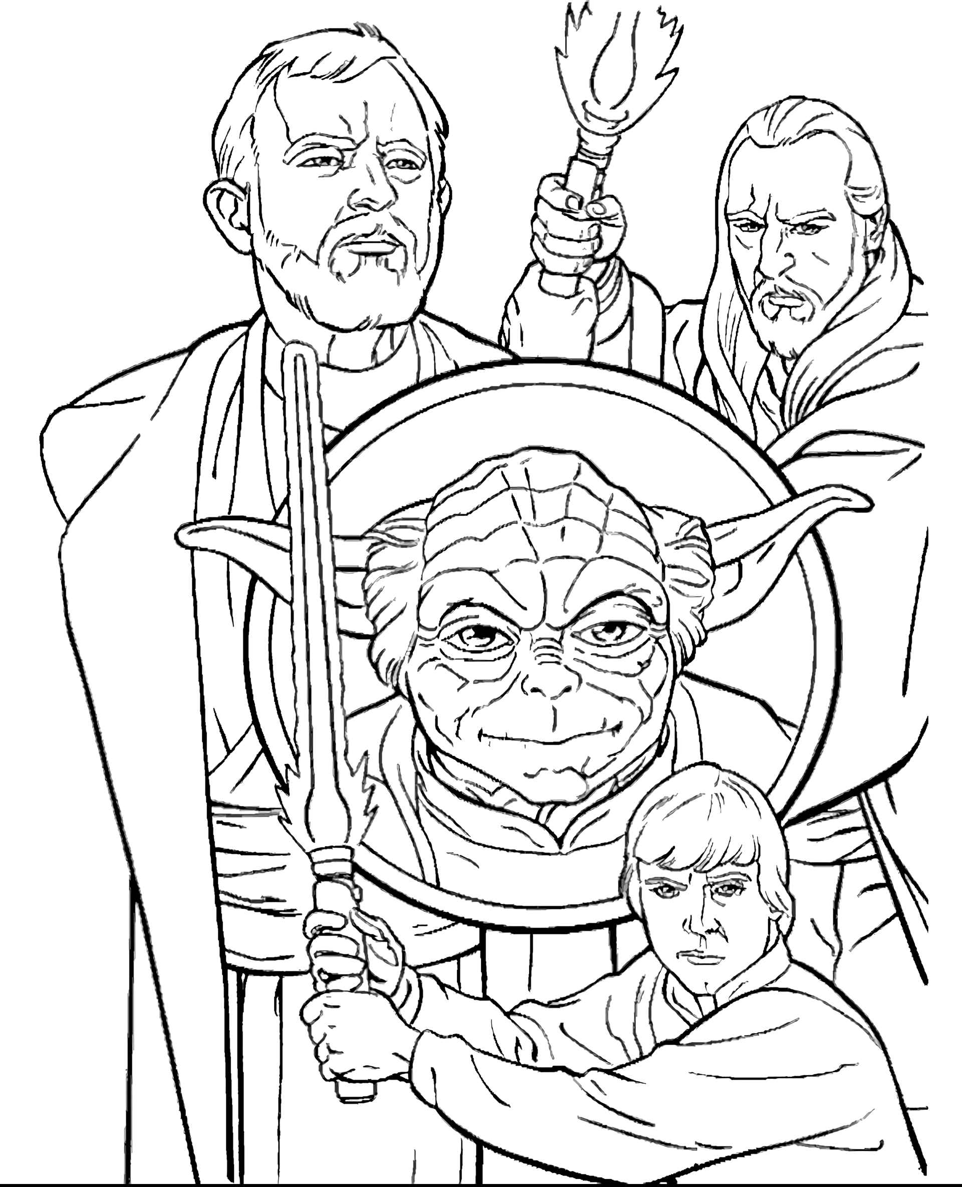 Master Yoda, Luke, Obi-Wan Kenobi And Owen Lars From Star Wars Coloring Page