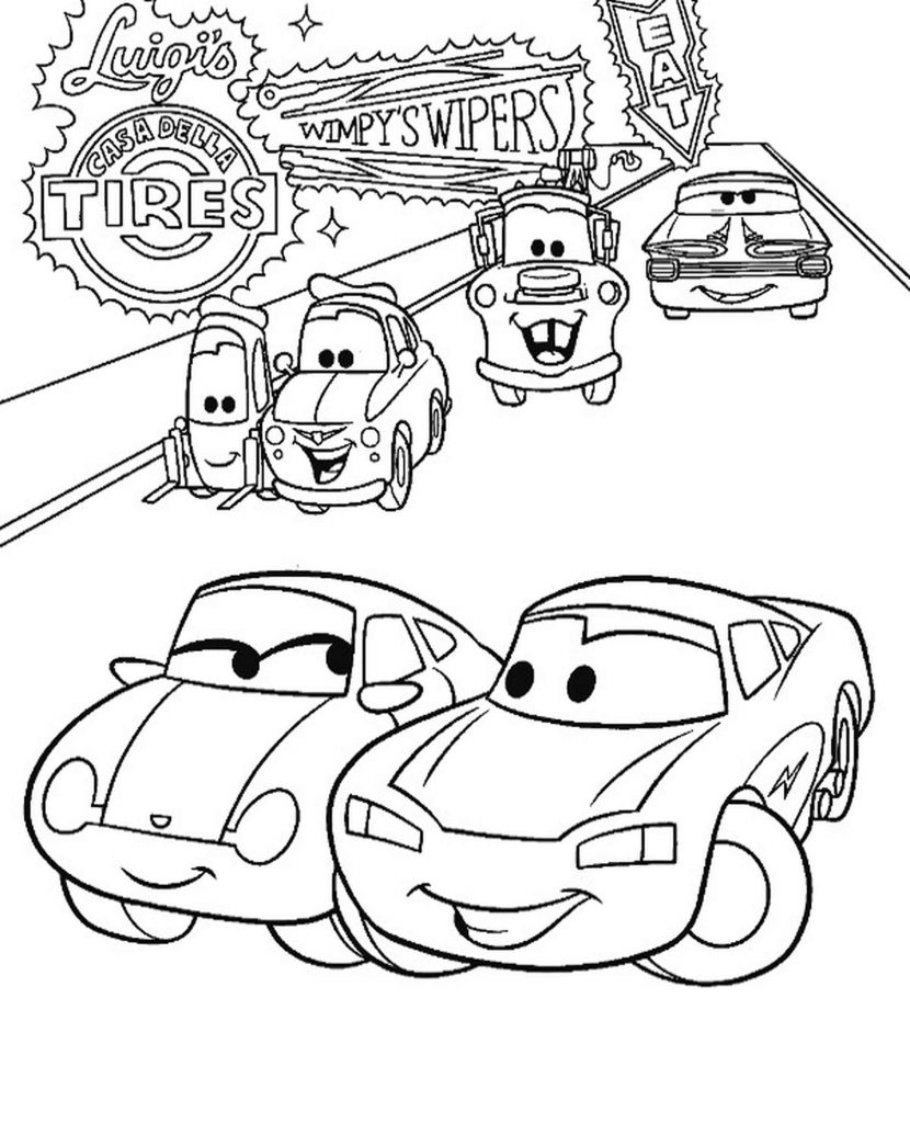 Mcqueen And Sally Going Together Coloring Page