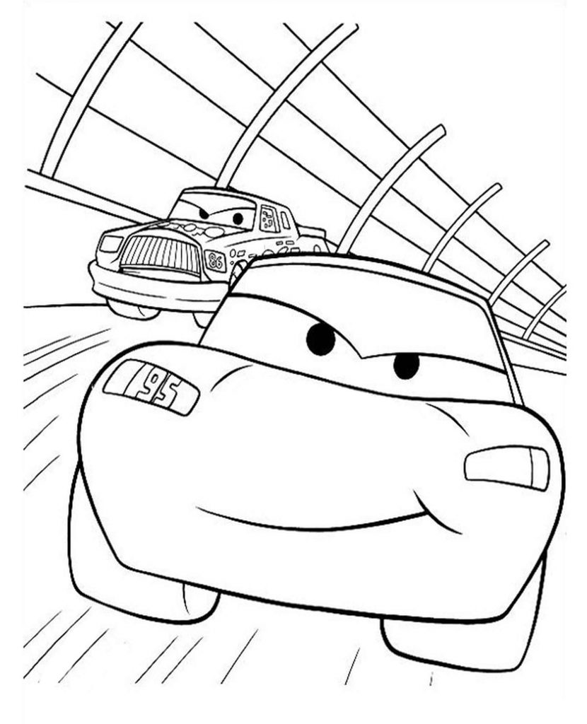 Mcqueen At The Races From Cars Coloring Page