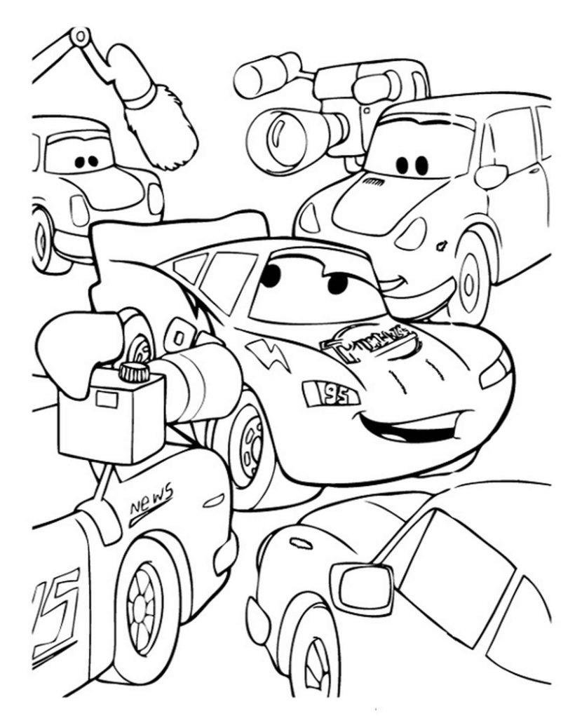 Mcqueen In A Press Interview In Cars Coloring Page