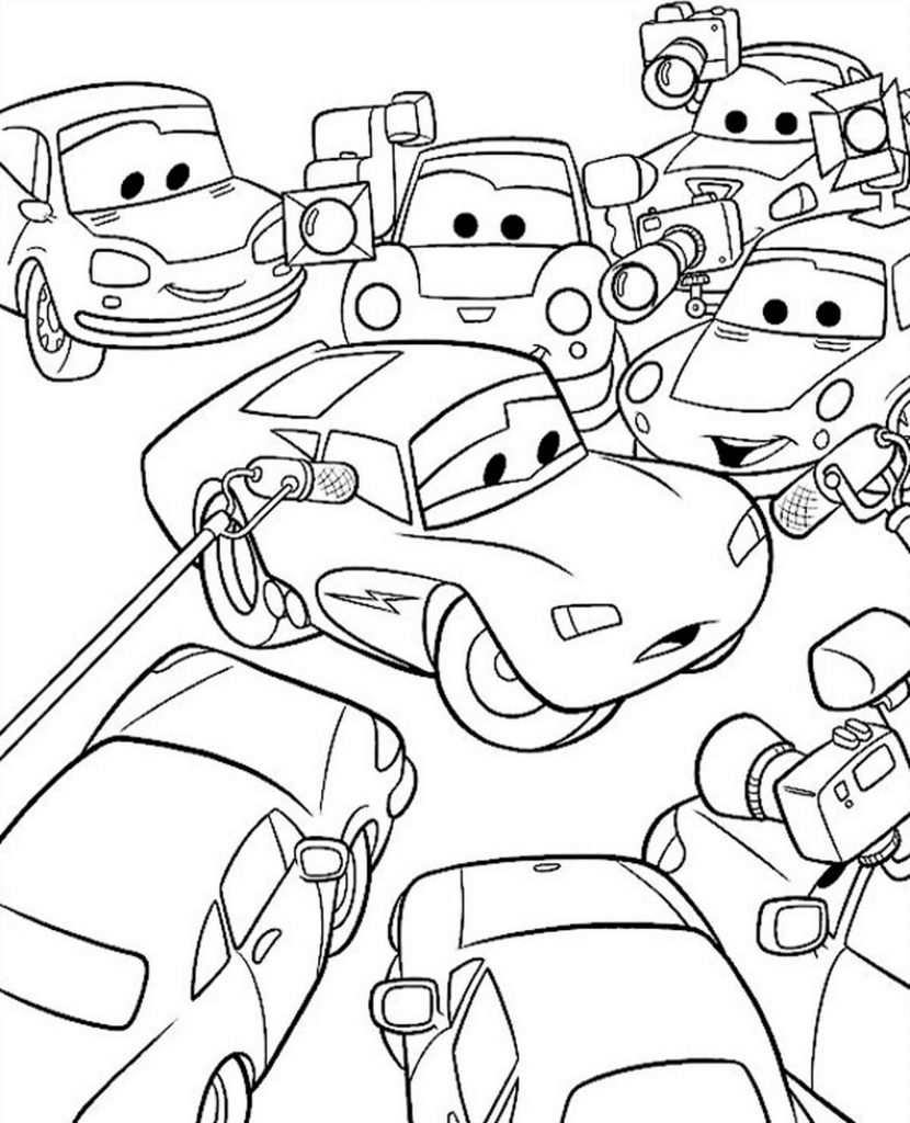 Mcqueen Interview In Cars Coloring Page