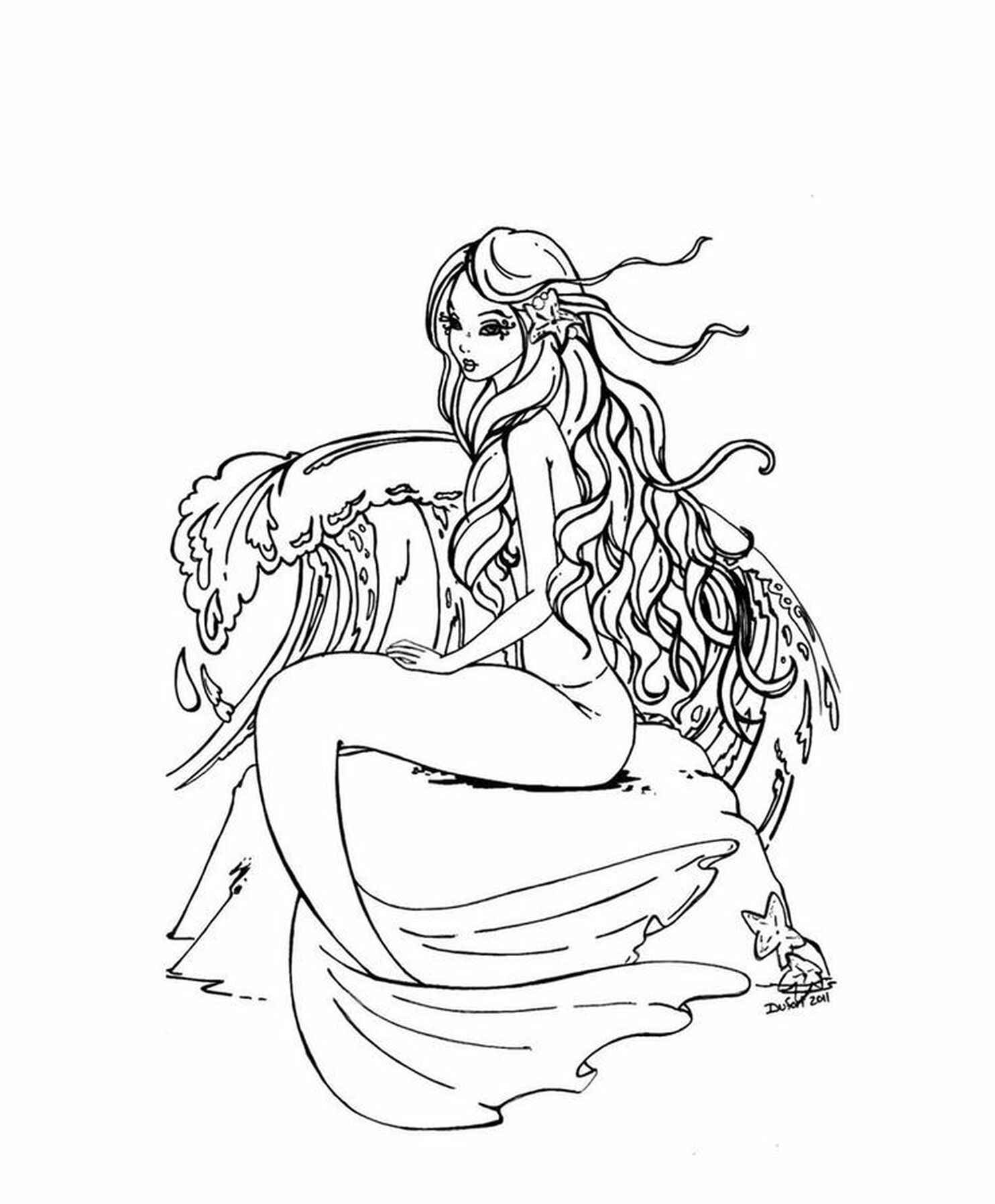Mermaid Coloring Page For Adults