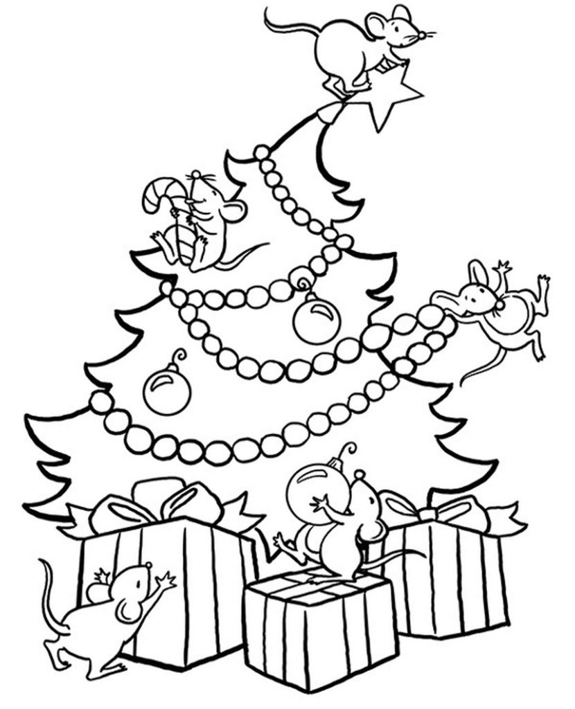 Mice On A Christmas Tree Coloring Page