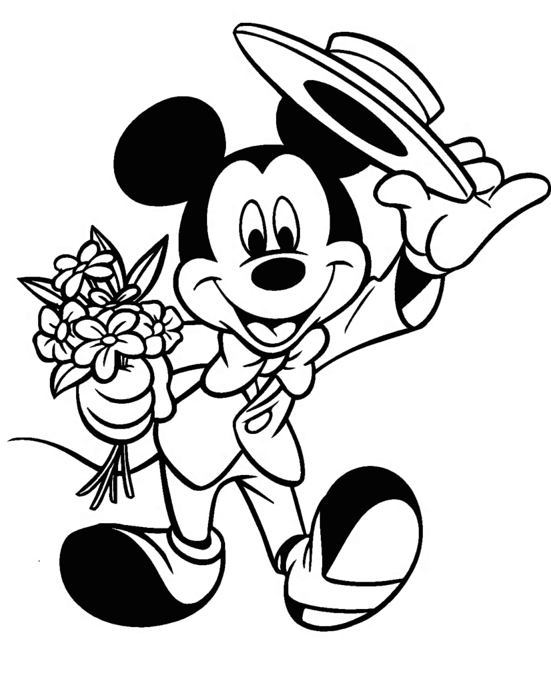 Mickey Mouse In A Suit With Flowers Coloring Page