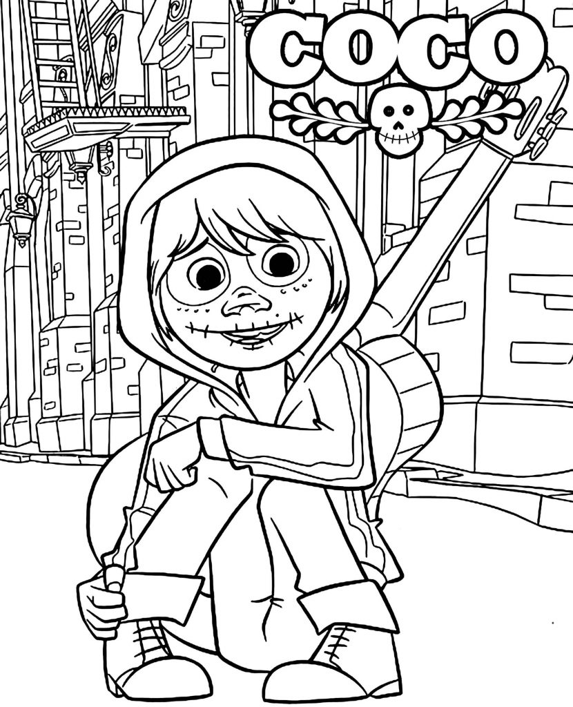 Miguel In The World Of The Dead From The Movie The Secret Of Coco Coloring Page