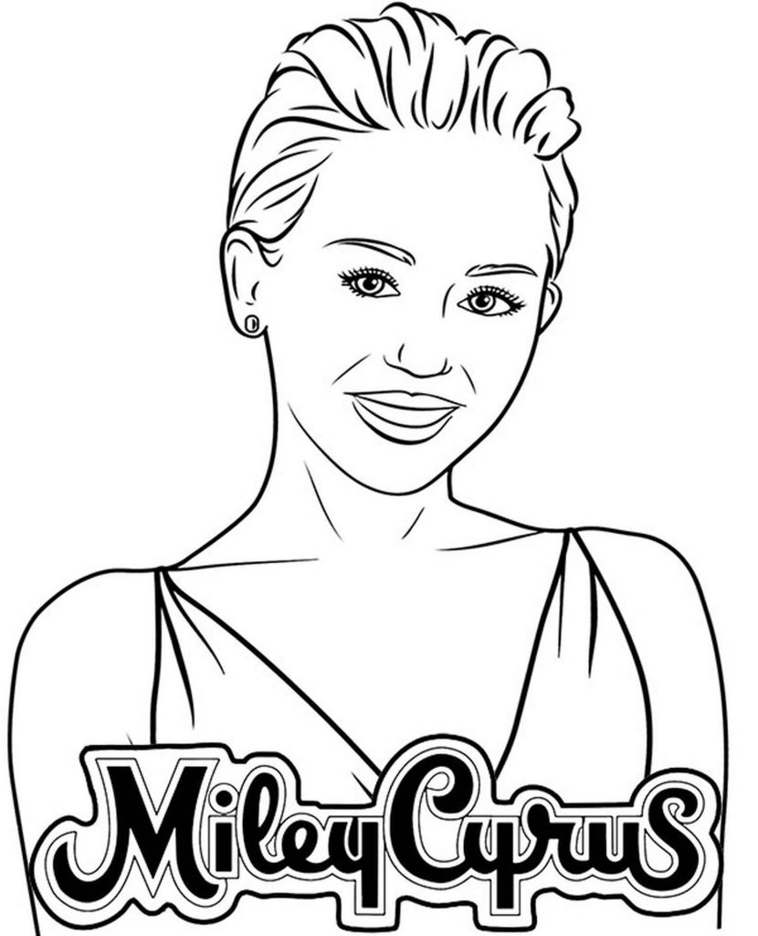 Miley Cyrus Pop Star Coloring Page