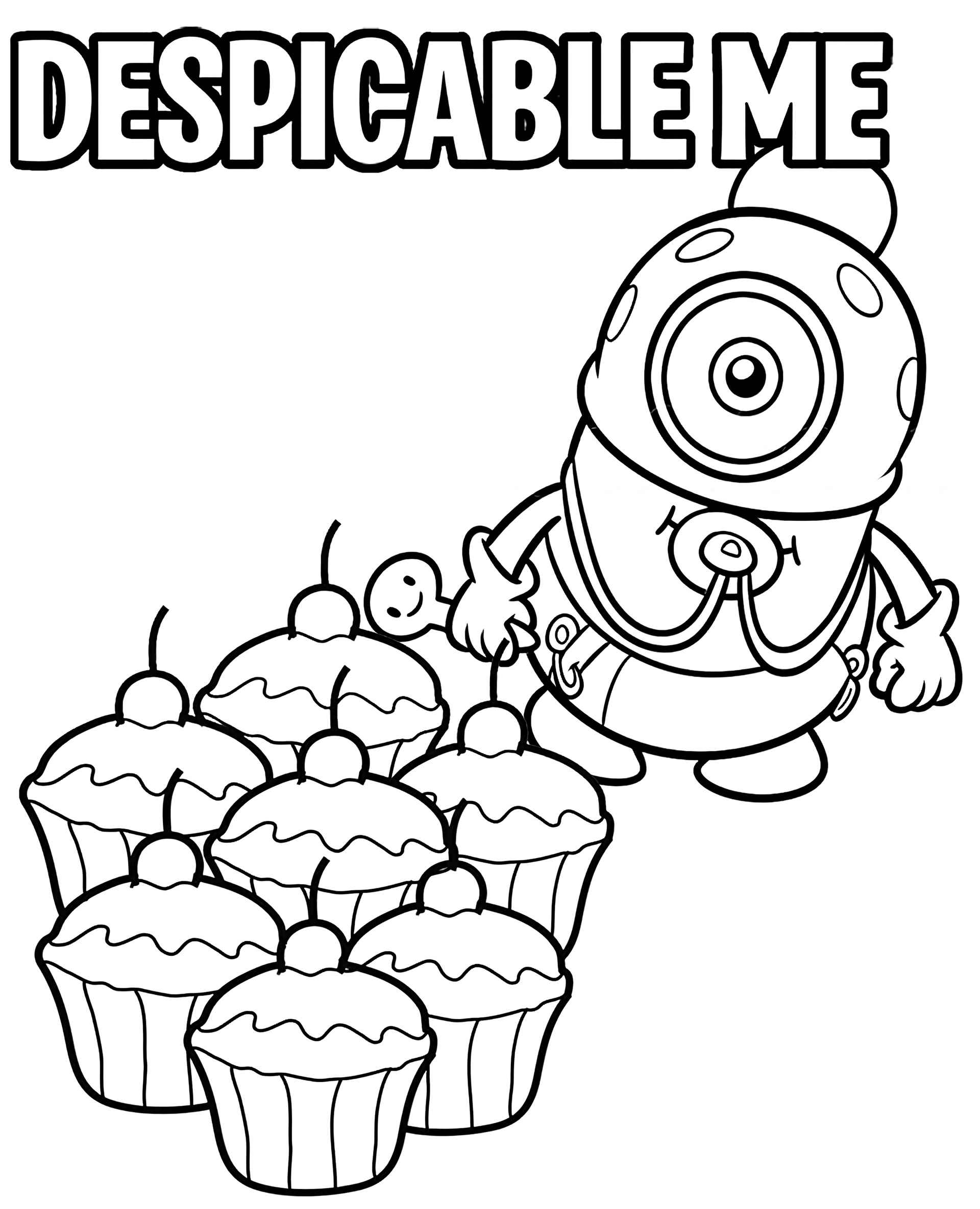 Minion And Cupcakes Coloring Page