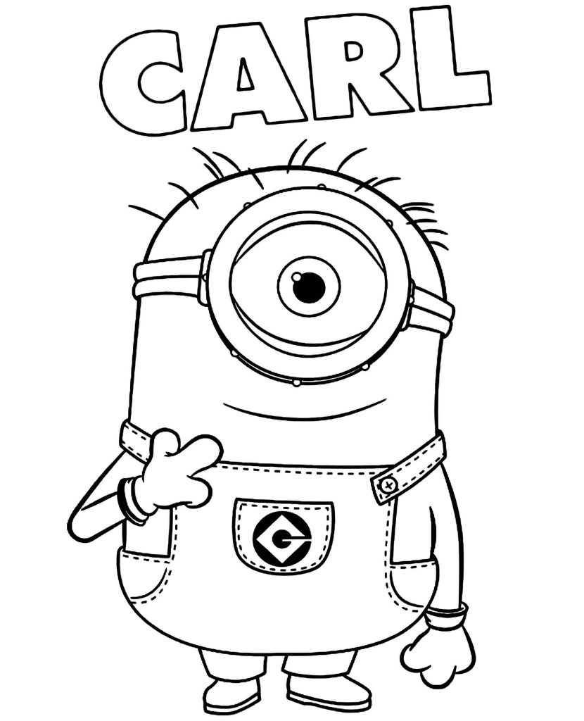 Minion Carl With Name Coloring Page