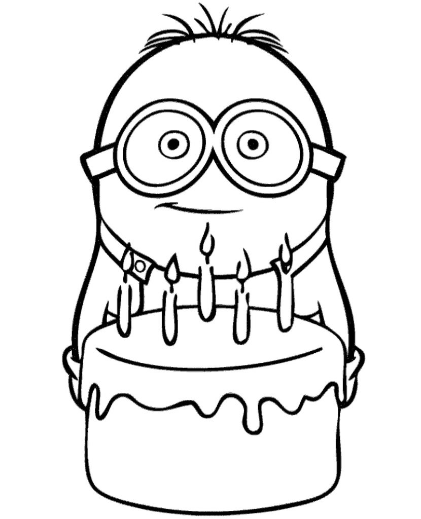 Minion Holding A Birthday Cake Coloring Page