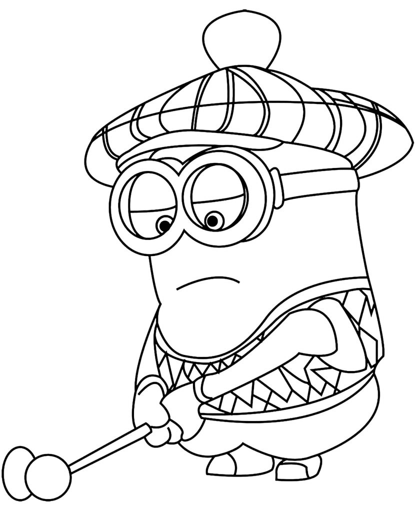 Minion Playing Golf Coloring Page