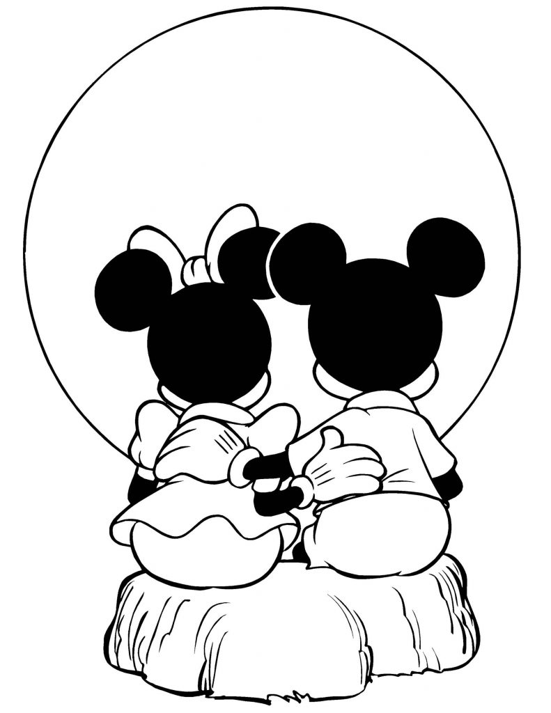 Minnie Mouse And Mickey Mouse Admire The Moon Coloring Page