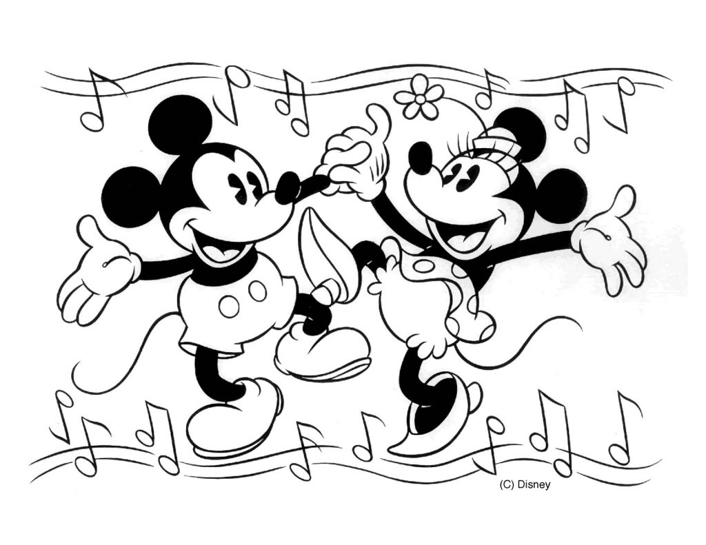 Minnie Mouse And Mickey Mouse Dance To The Music Coloring Page