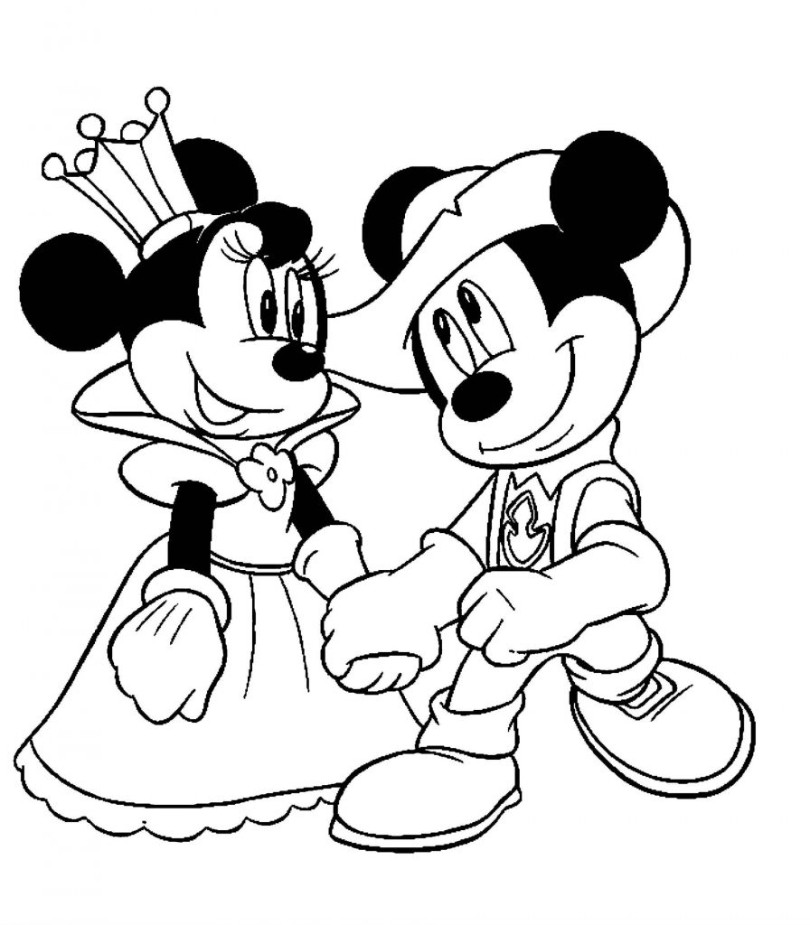 Minnie Mouse And Mickey Mouse In Medieval Outfits Coloring Page