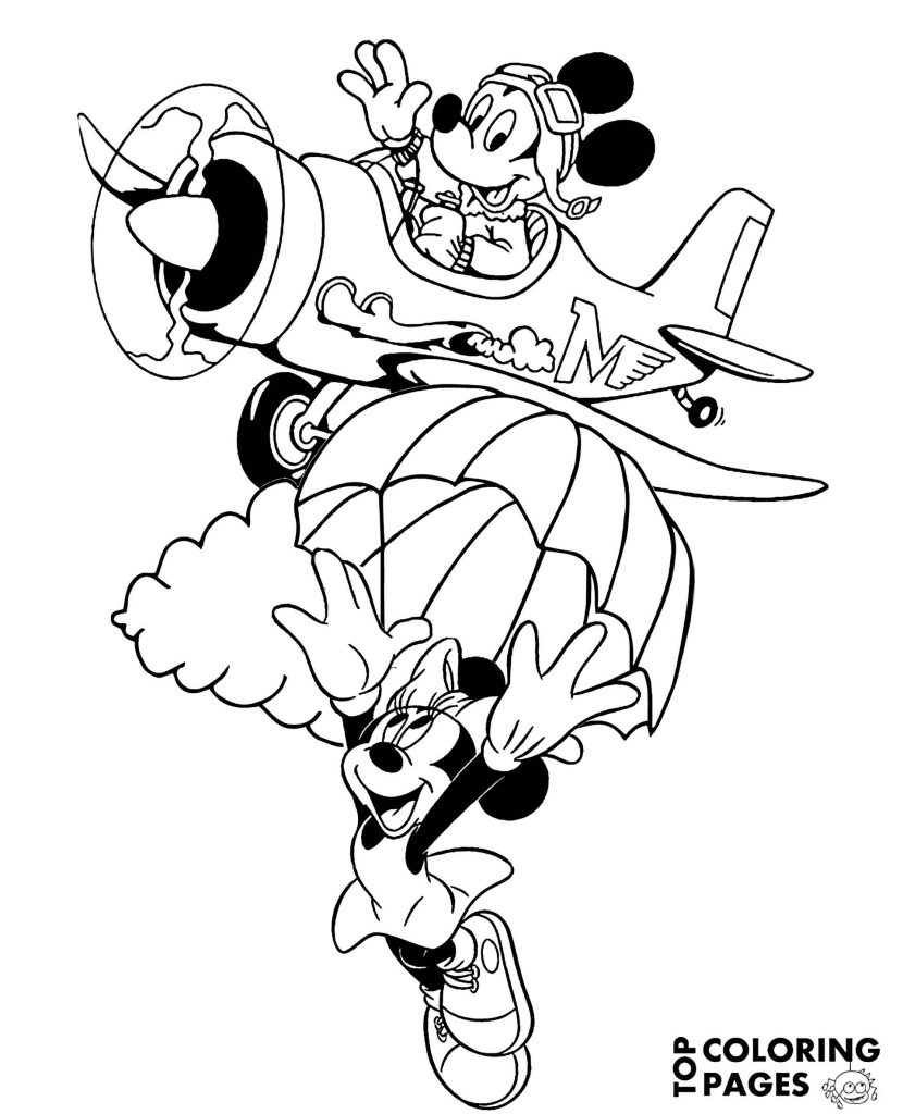 Minnie Mouse And Mickey Mouse In The Air Coloring Page