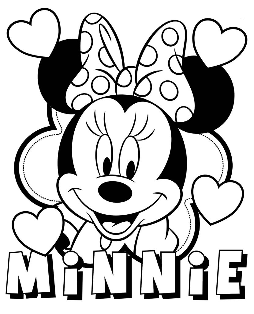 Minnie Mouse Around Hearts Coloring Page