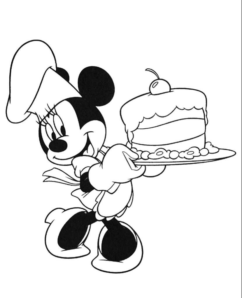 Minnie Mouse Made A Cake Coloring Page