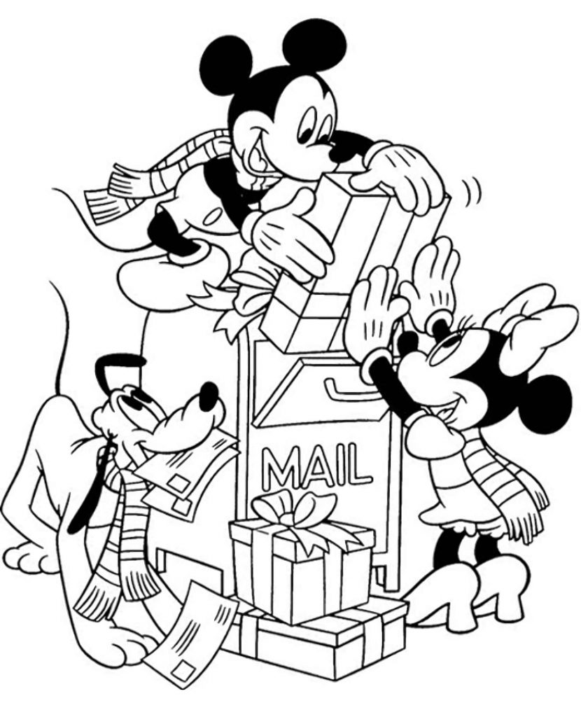 Minnie Mouse, Mickey Mouse And Pluto Send Gifts Via Mail Coloring Page