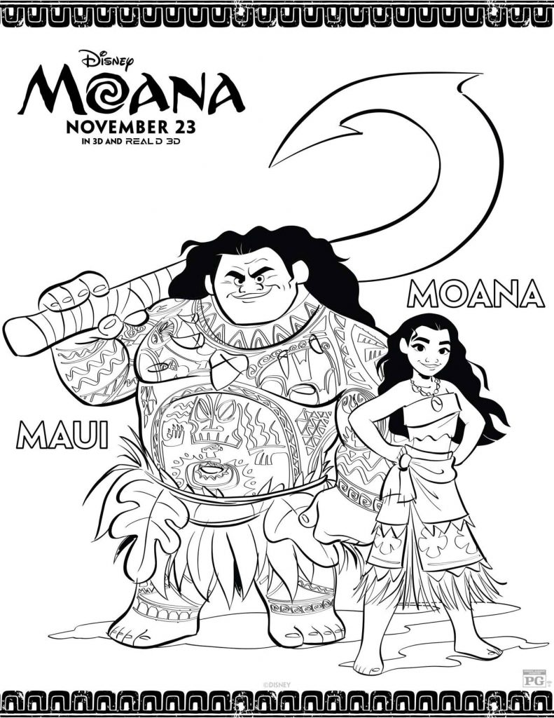 Moana And Maui With Their Names