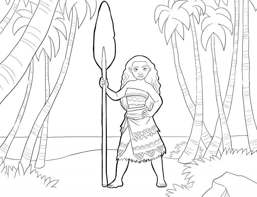Moana With Paddle And Palm Trees