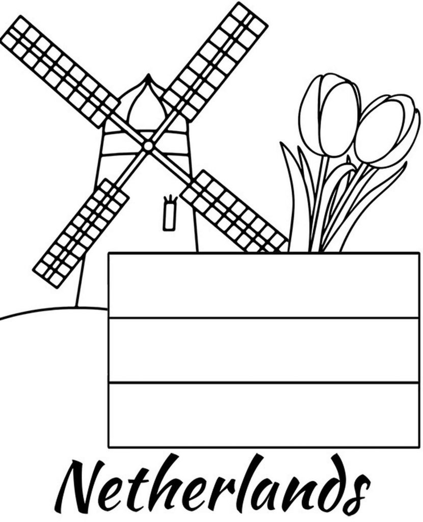 Netherlands Flag, Mill And Tulips Coloring Page