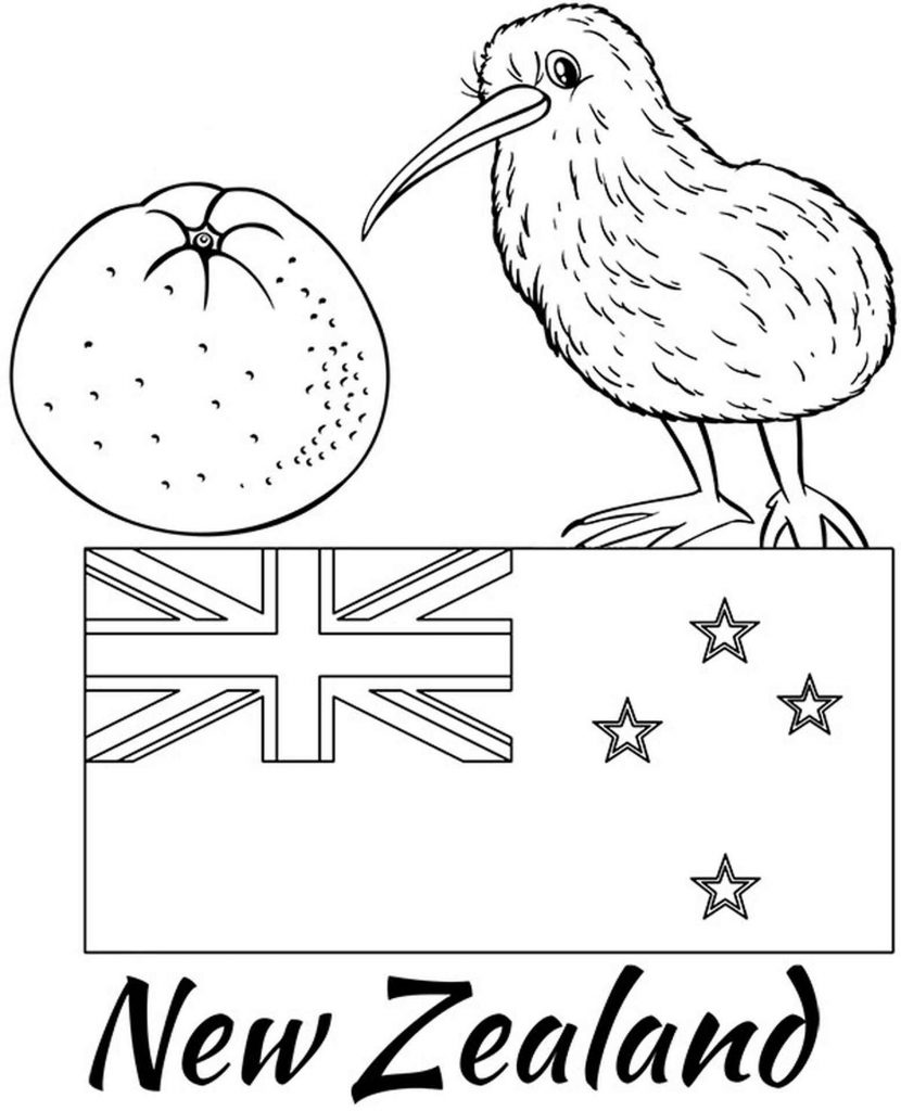New Zealand Flag, Kiwi Bird And Tangerine Coloring Page