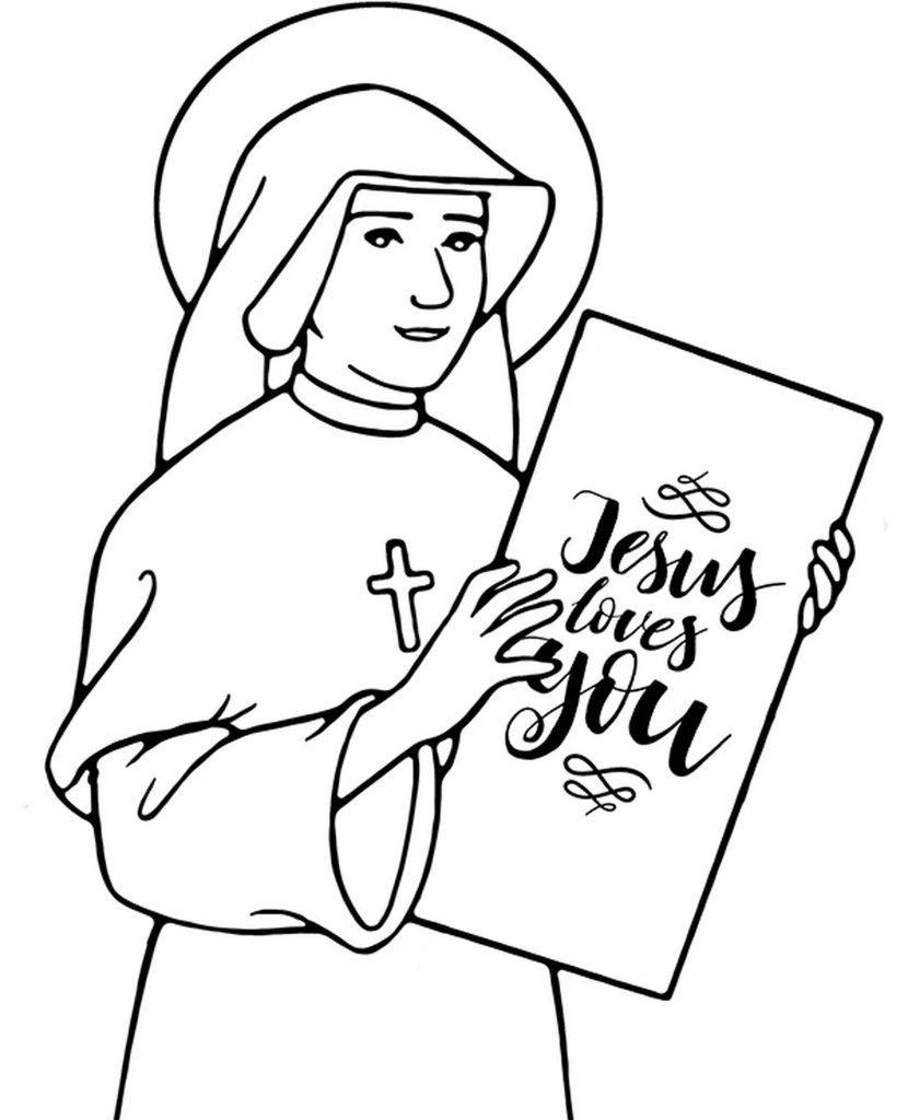 Nun Holding A Paper Coloring Page