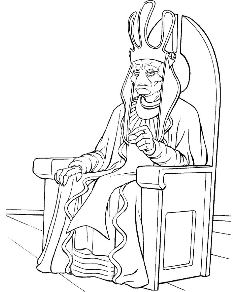 Nute Gunray From Star Wars Sits On The Throne Coloring Page