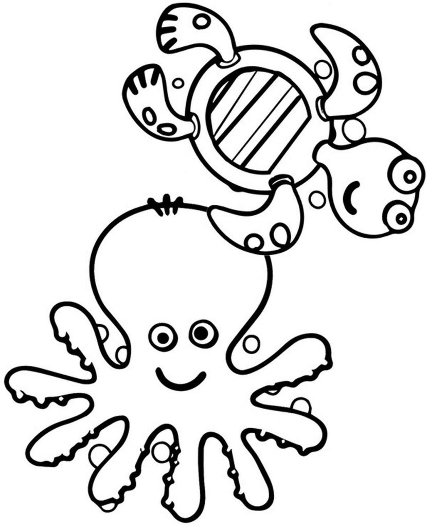 Octopus Tortoise Easy Coloring Page